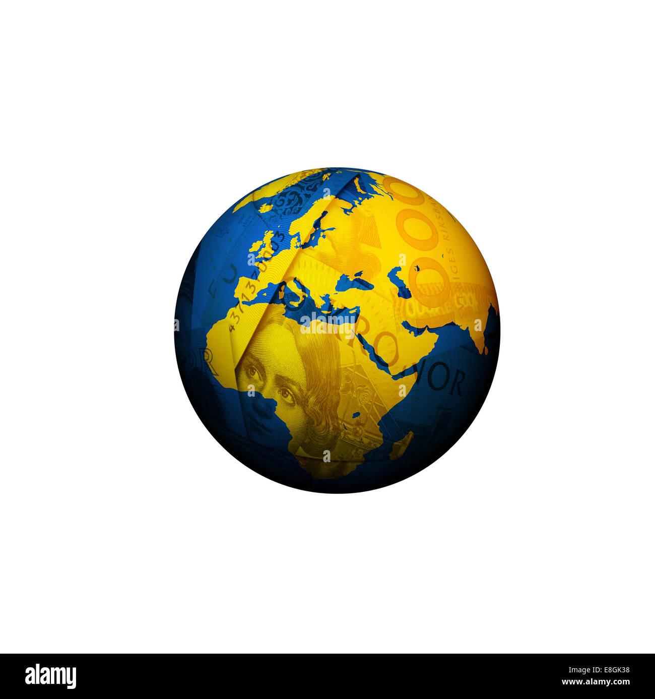 Digitally generated image of money globe - Stock Image