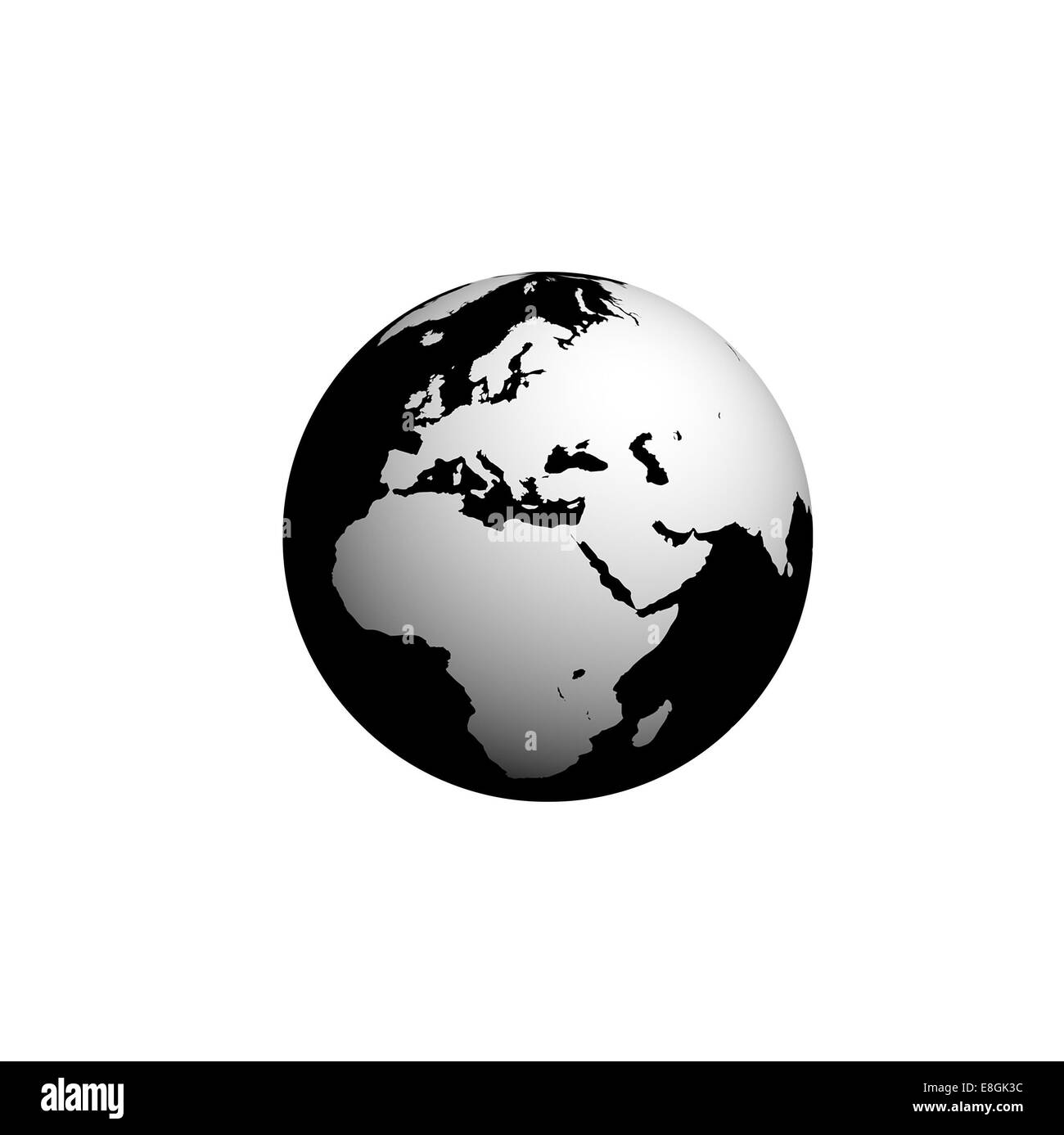 Digitally Generated Image Of Planet Earth Black And White