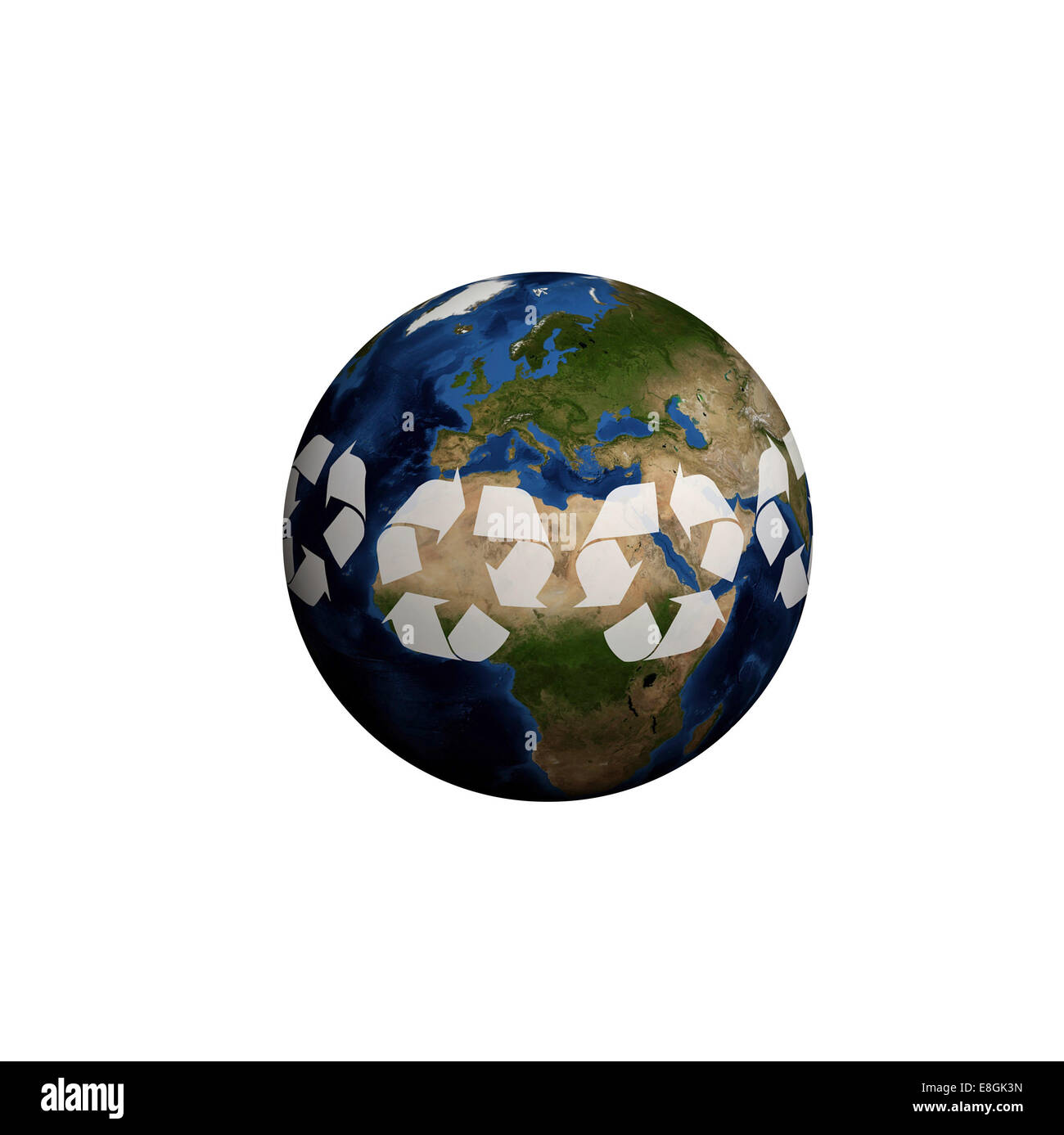 Digitally generated image of planet earth, Recycling planet - Stock Image