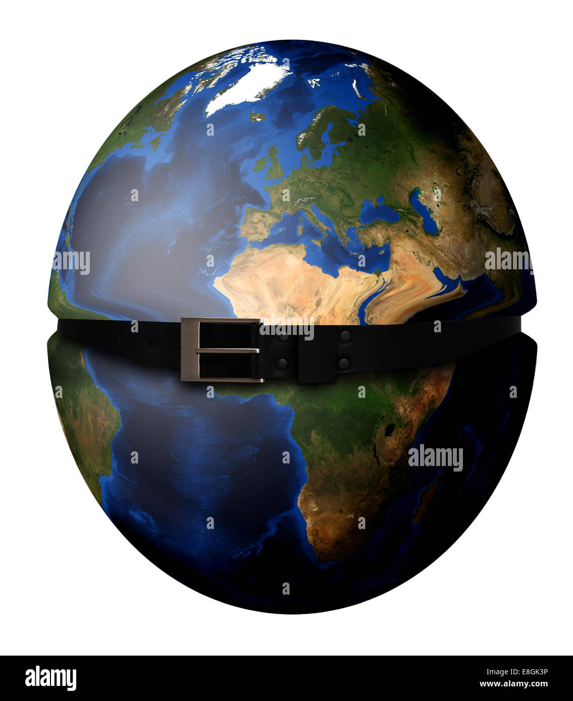 Digitally generated image of planet earth tightening with belt - Stock Image