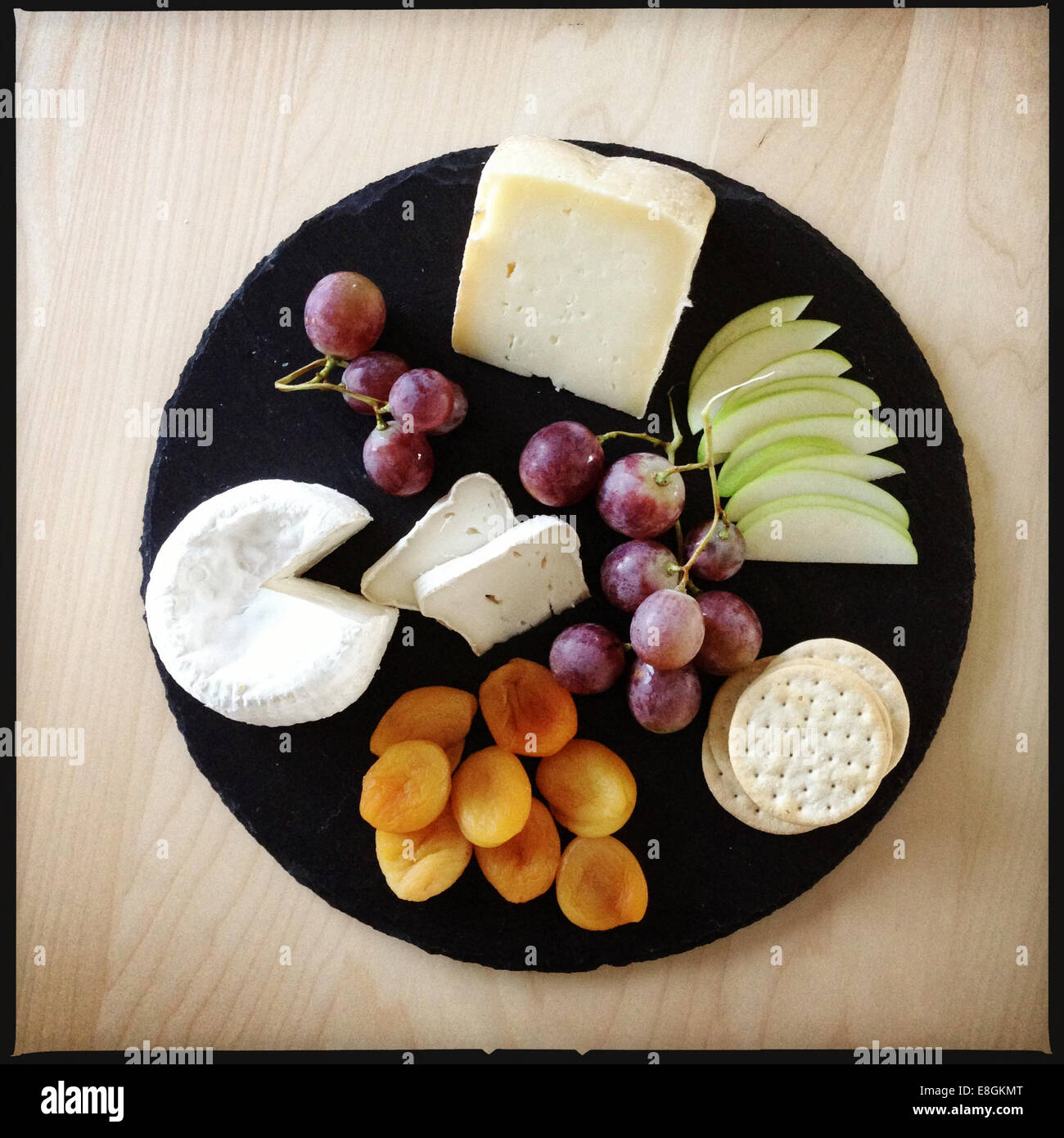 Italy Cheese Platter Cheese Apple Dried Apricots Crackers Stock Photo Alamy