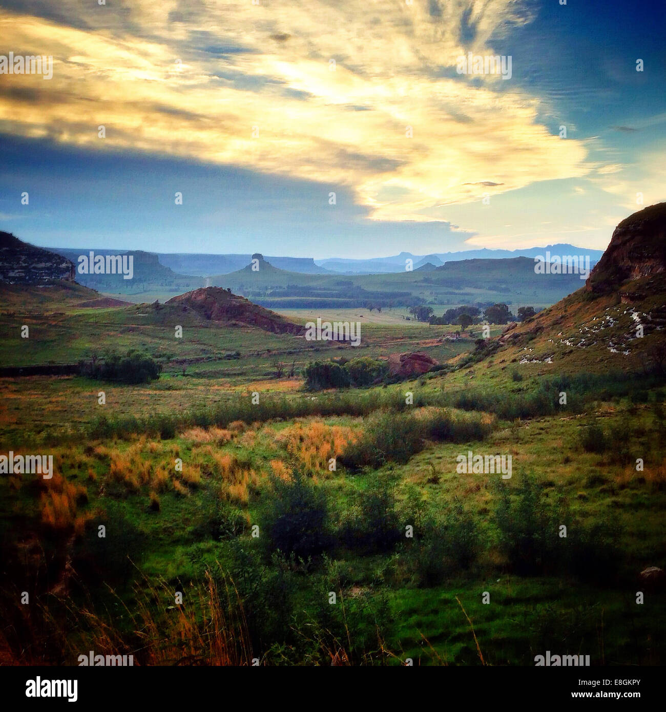 Bloemfontein, Clarens, Bayswater, South Africa Endless Valleys In Clarens - Stock Image