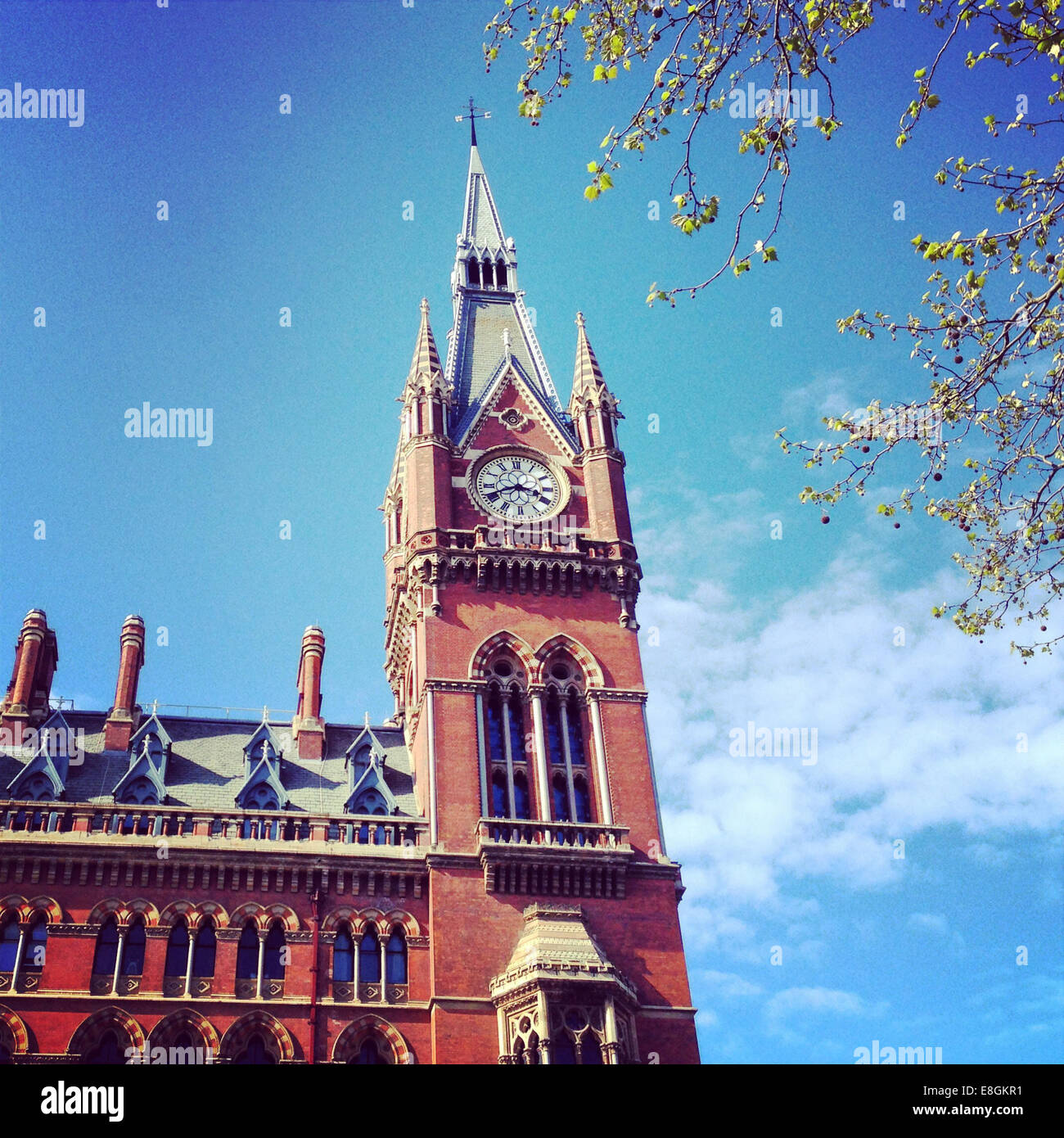 UK, London, Somers Town, King's Cross Square, St Pancras Clock Tower - Stock Image