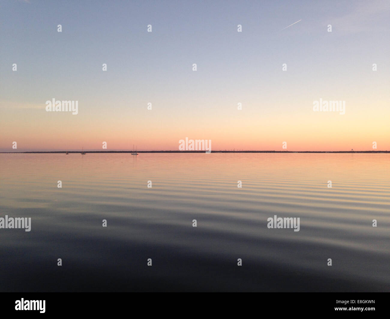 USA, Florida, St. Johns County, St. Augustine, Still water at sunset - Stock Image