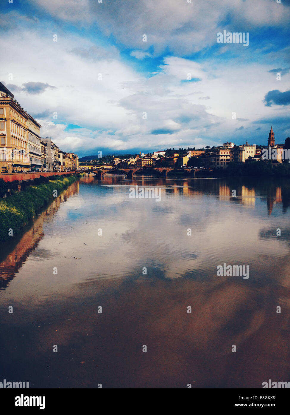 Italy, Tuscany, Florence, view from Vespucci bridge - Stock Image