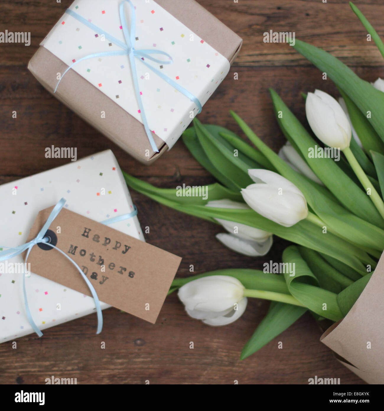 Mother's Day gifts and flowers - Stock Image