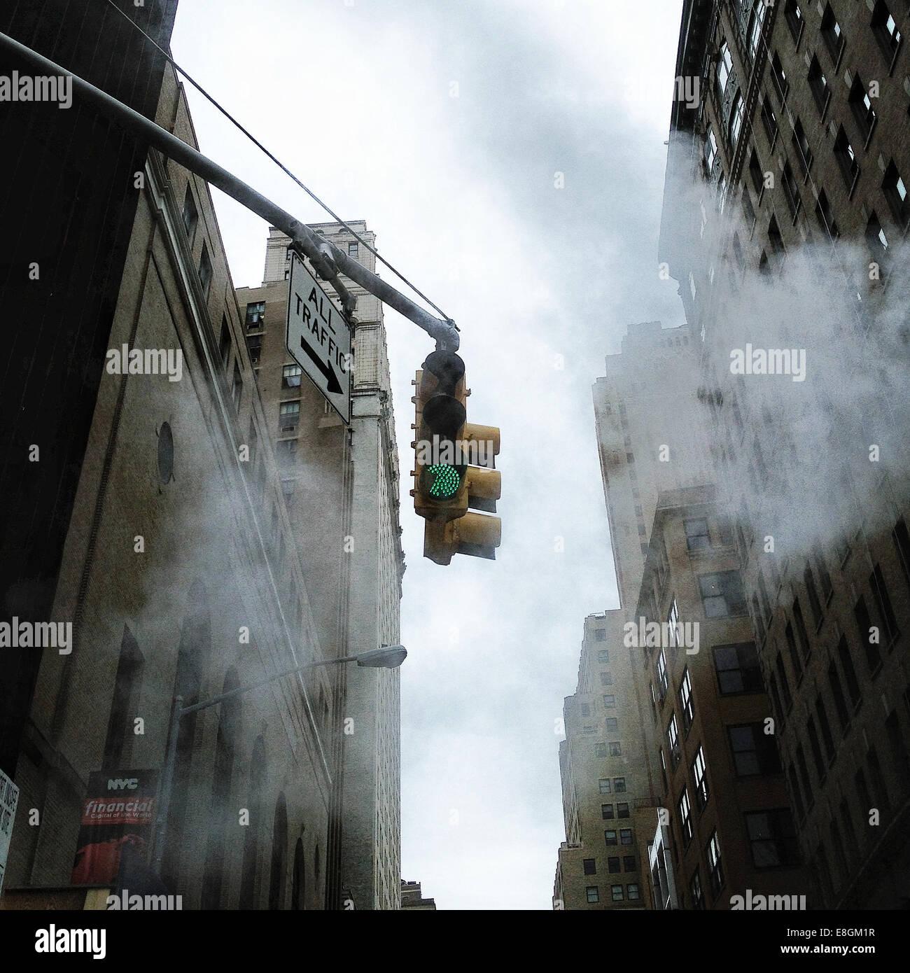 USA, New York, Traffic light - Stock Image