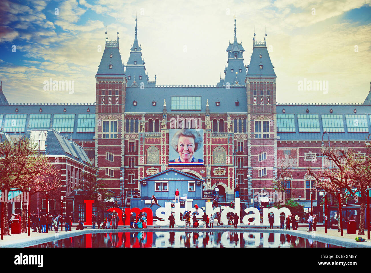 Netherlands, Amsterdam, Front view of Rijksmuseum - Stock Image