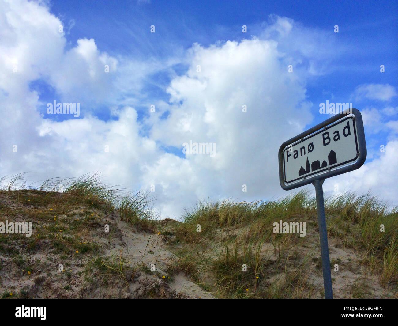 Denmark, Fano Bad, Road sign - Stock Image