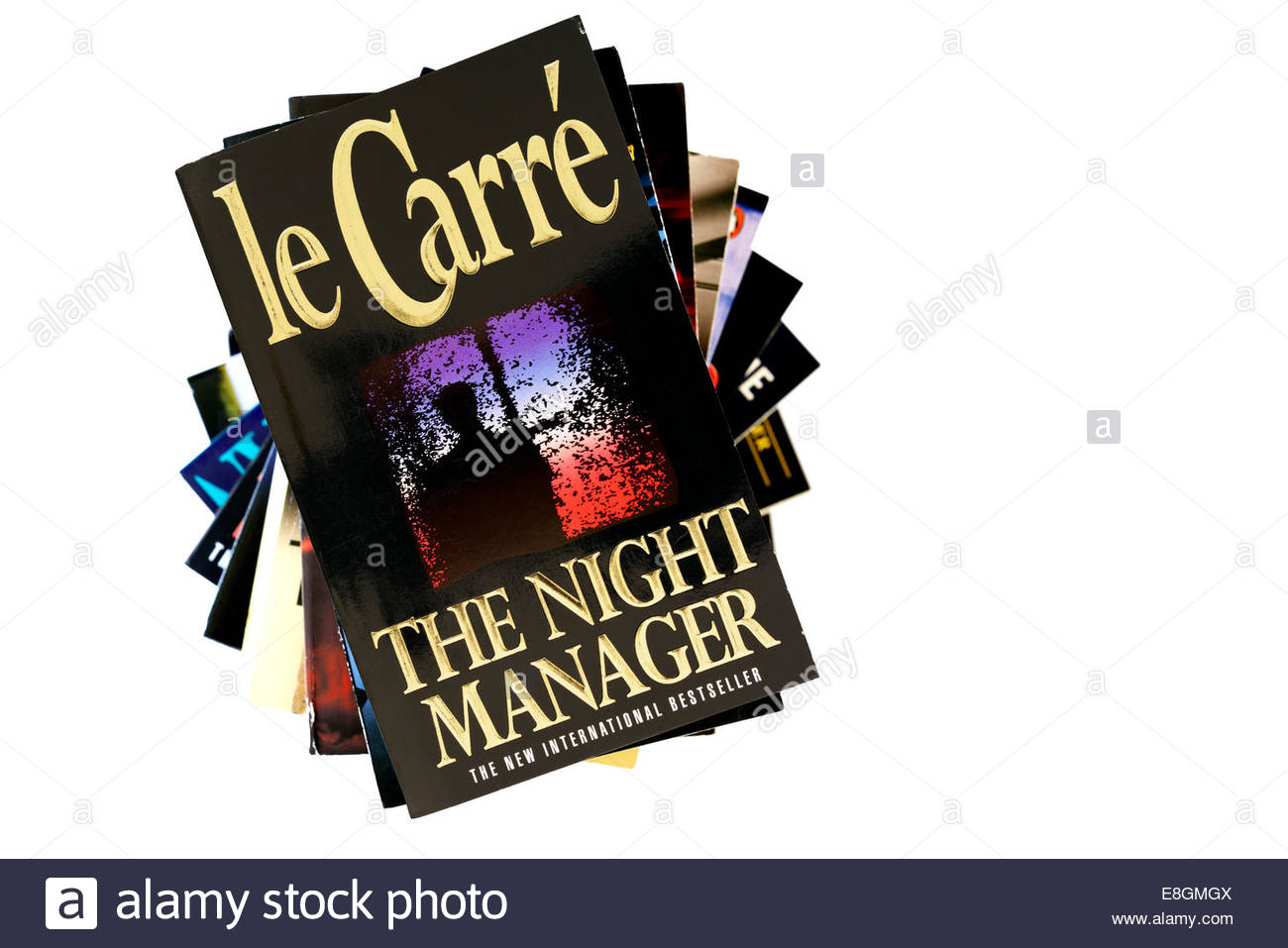 John le Carré 1993 book title The Night Manager, stacked used books, England - Stock Image