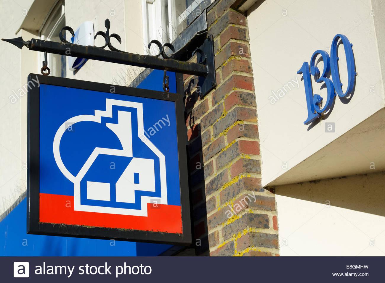 Nationwide Building Society logo on sign, Poole, Dorset, England UK - Stock Image
