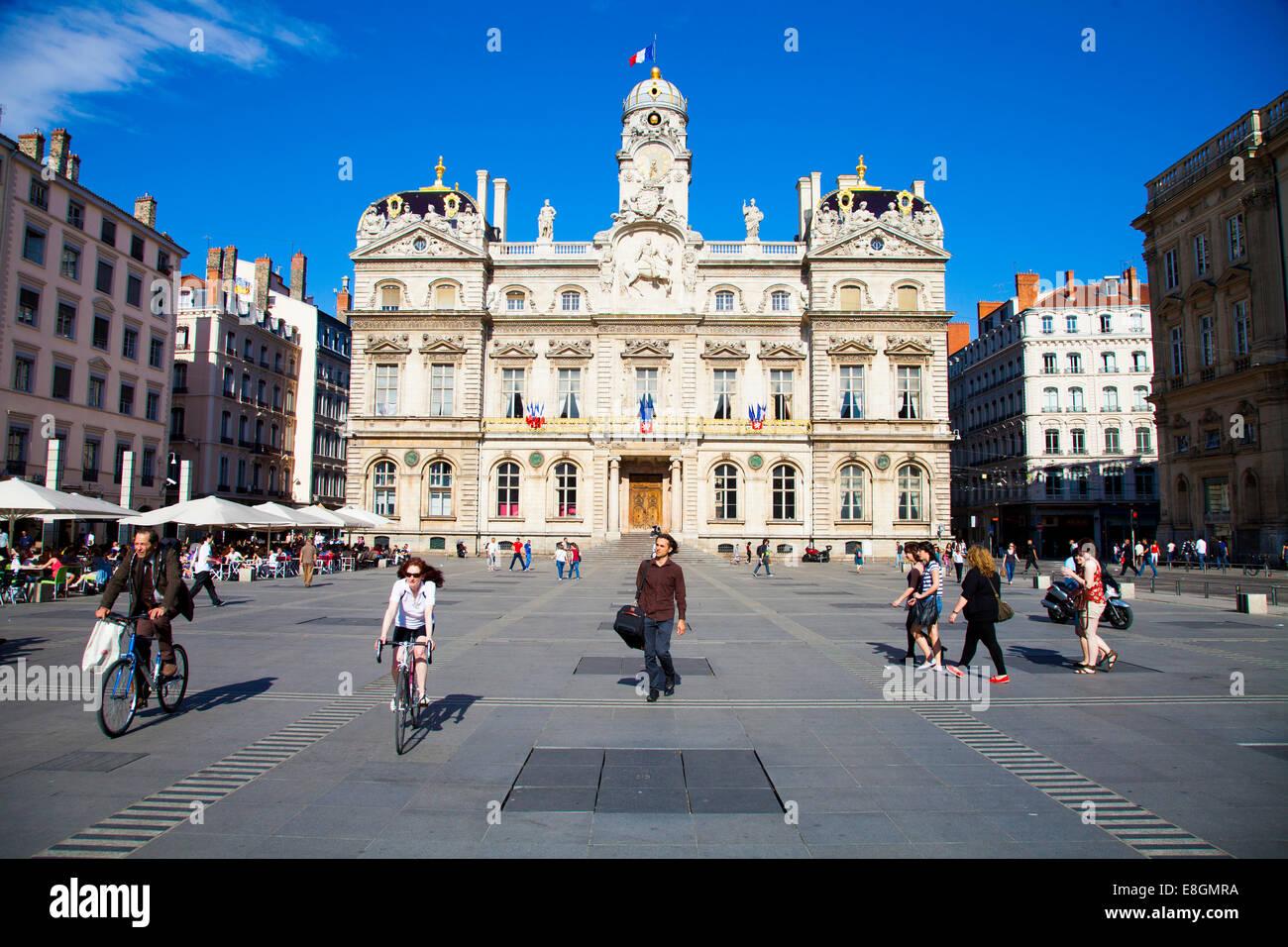 Place des Terreaux square, Lyon, Rhône-Alpes, France - Stock Image