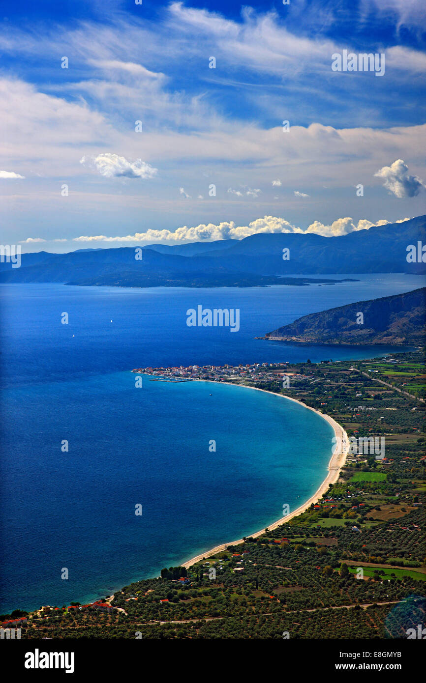 Panoramic view of the bay of Mytikas (Xiromero, Aitoloakarnania, Greece) from the ancient fortifications of Kastri. Stock Photo