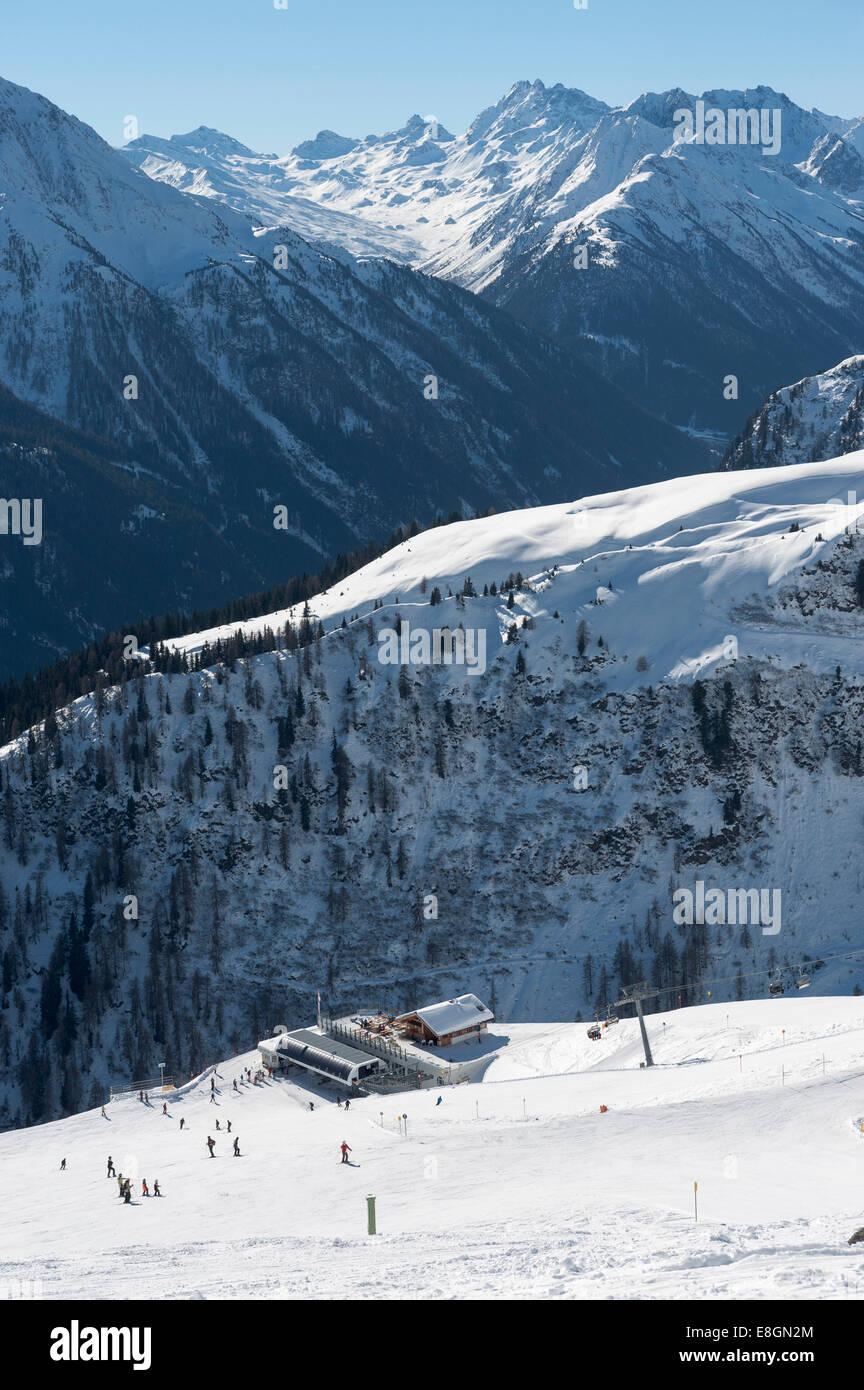 Alblittkopfbahn lift station, Kappl-Sunny Mountain ski resort, Paznaun Valley, Kappl, Tyrol, Austria - Stock Image