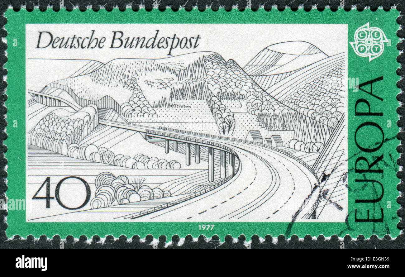 GERMANY - CIRCA 1977: Postage stamp printed in Germany, shows a Rhoen highway, circa 1977 - Stock Image