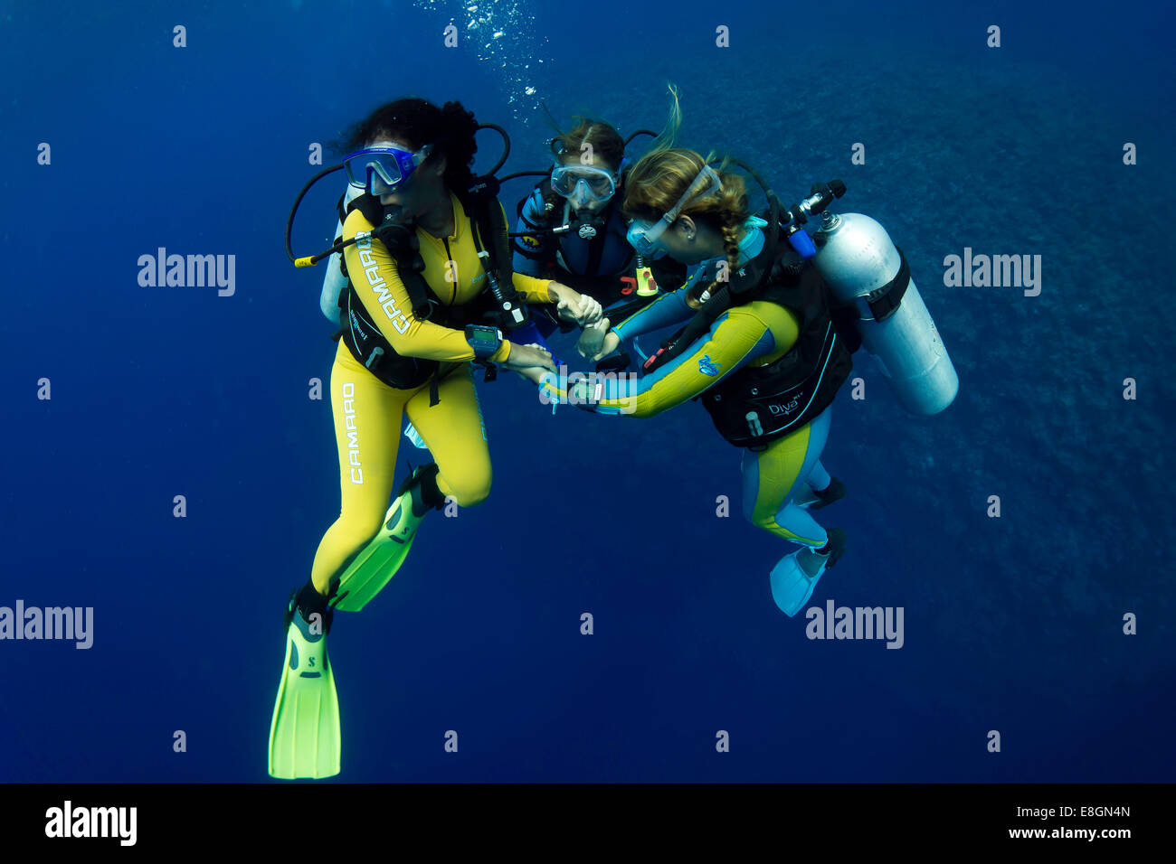 Group of scuba divers with colourful diving suits in the open water, Palawan, Philippines, Asia - Stock Image