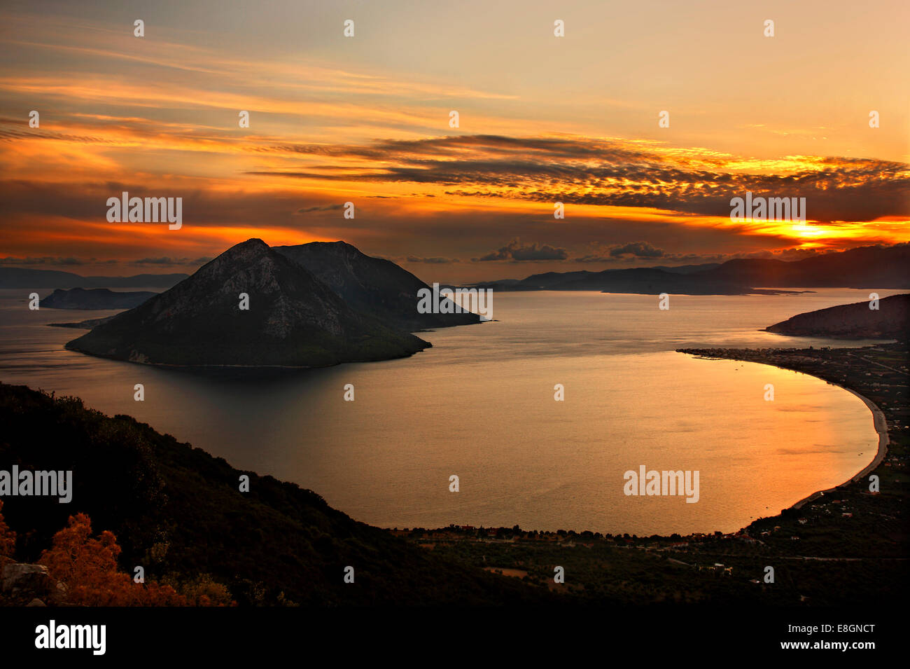 Sunset view of the bay of Mytikas (Municipality of Xiromero, Aitoloakarnania, Greece) from the ancient fortifications Stock Photo