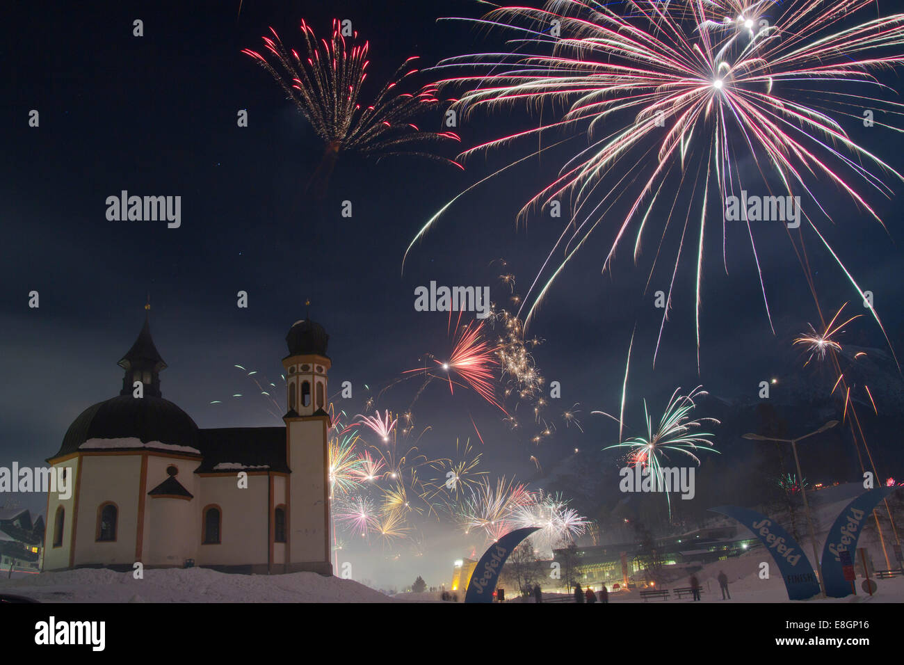 New Year's Eve fireworks in Seefeld, Tyrol, Austria - Stock Image