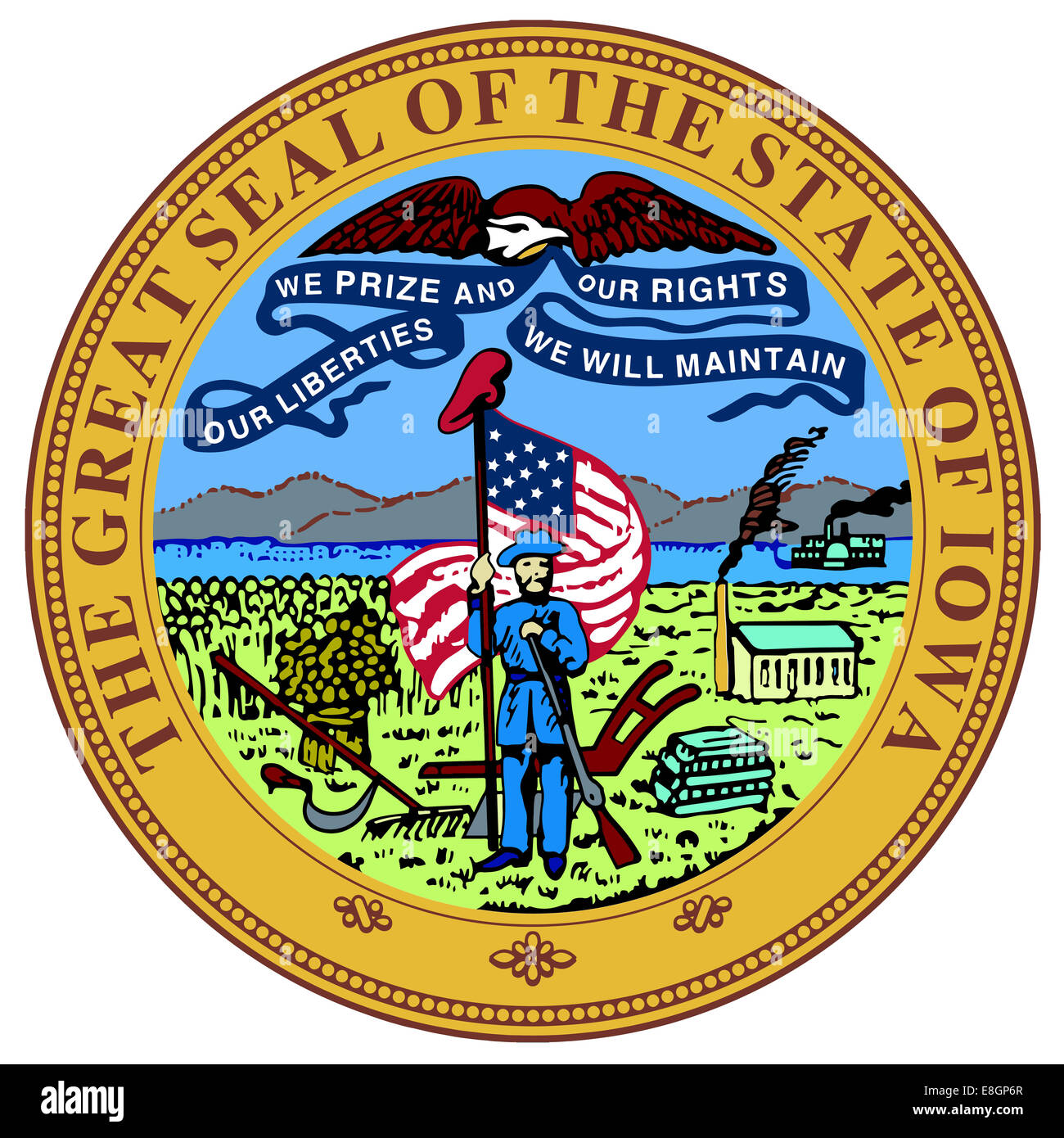The great seal of the state of Iowa over a white background - Stock Image