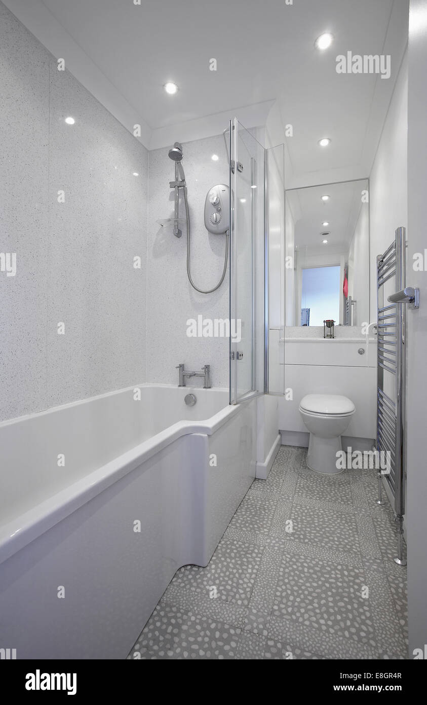A modern stylish bathroom interior with shower in a home in the UK ...
