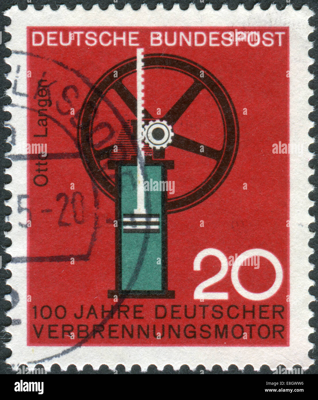 Stamp printed in Germany, 100th anniversary of German internal combustion engine, Nikolaus August Otto and Eugen Stock Photo