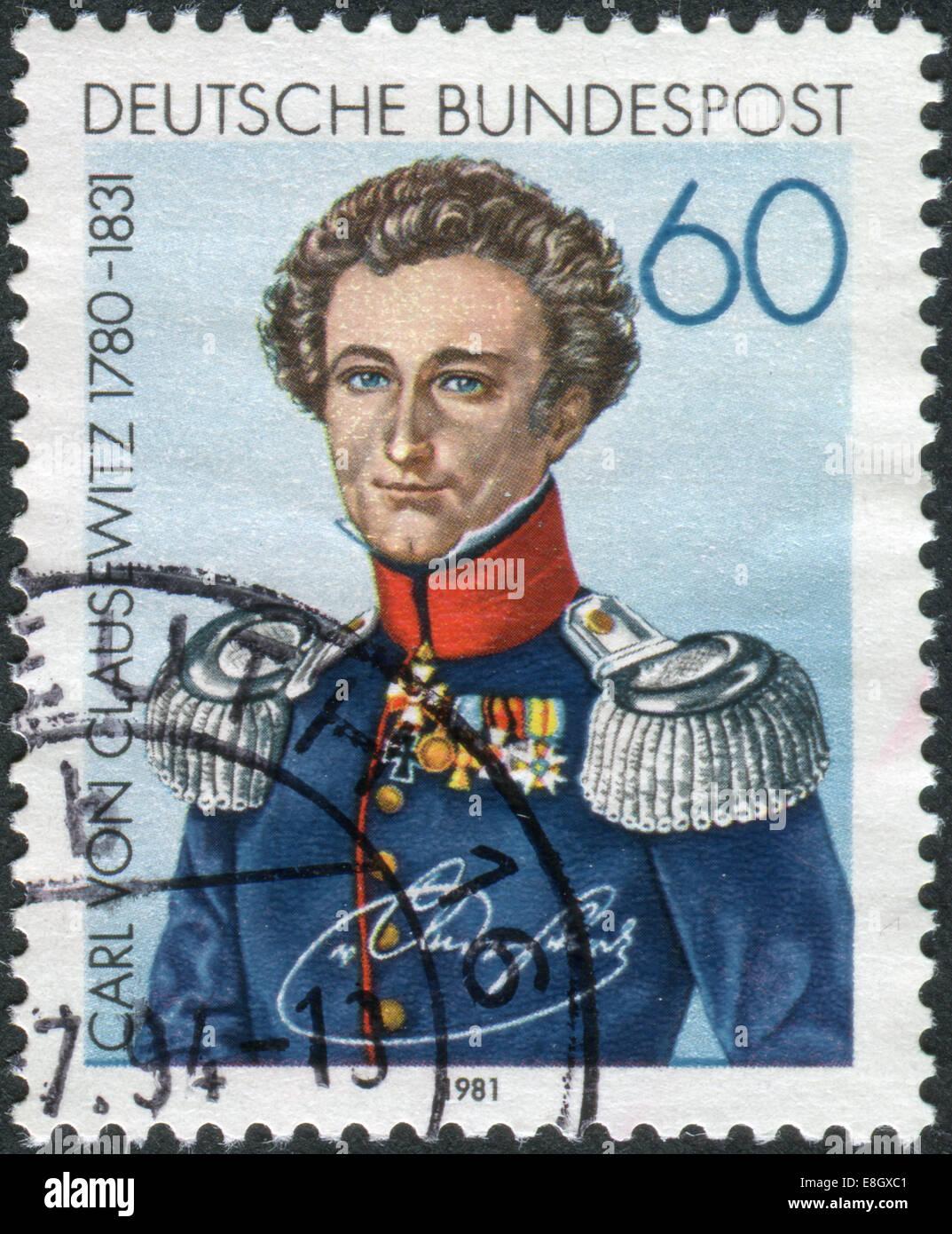 GERMANY - CIRCA 1981: Postage stamp printed in Germany, shows Carl Philipp Gottfried von Clausewitz, circa 1981 Stock Photo