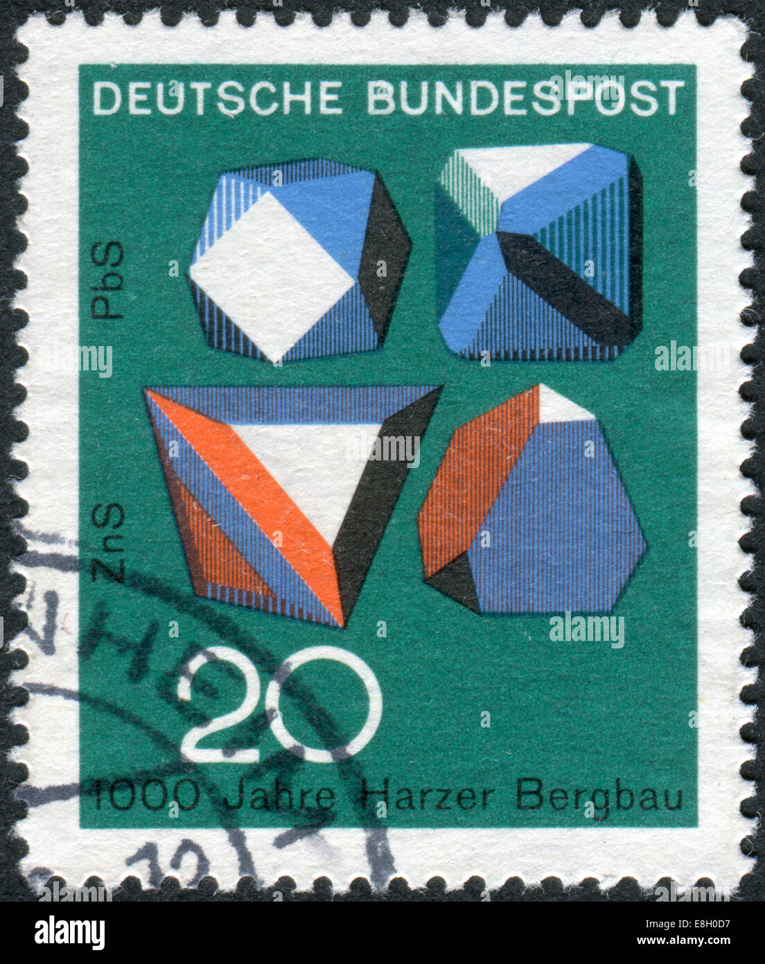 Stamp printed in Germany, 1000th anniversary of mining in the Harz Mountains, shows the mineral Galena and Sphalerite - Stock Image