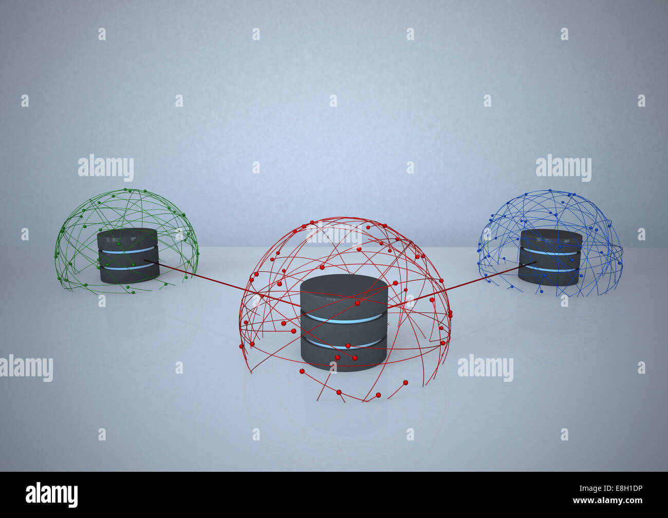 Connected data bases - Stock Image