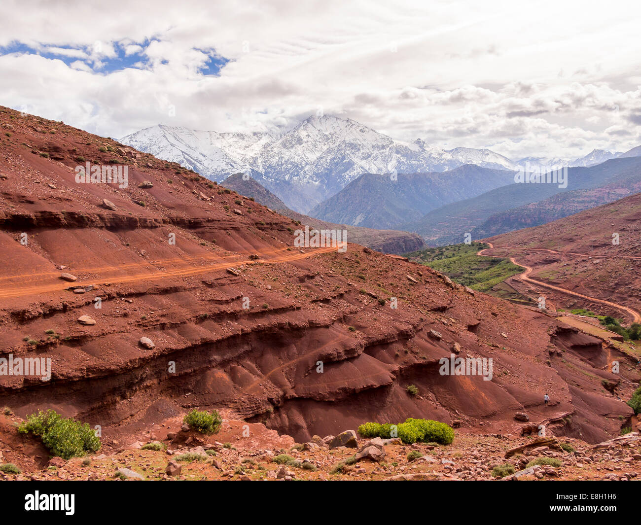 Morocco, Atlas Mountains, Ourika Valley, clay paths in mountains - Stock Image