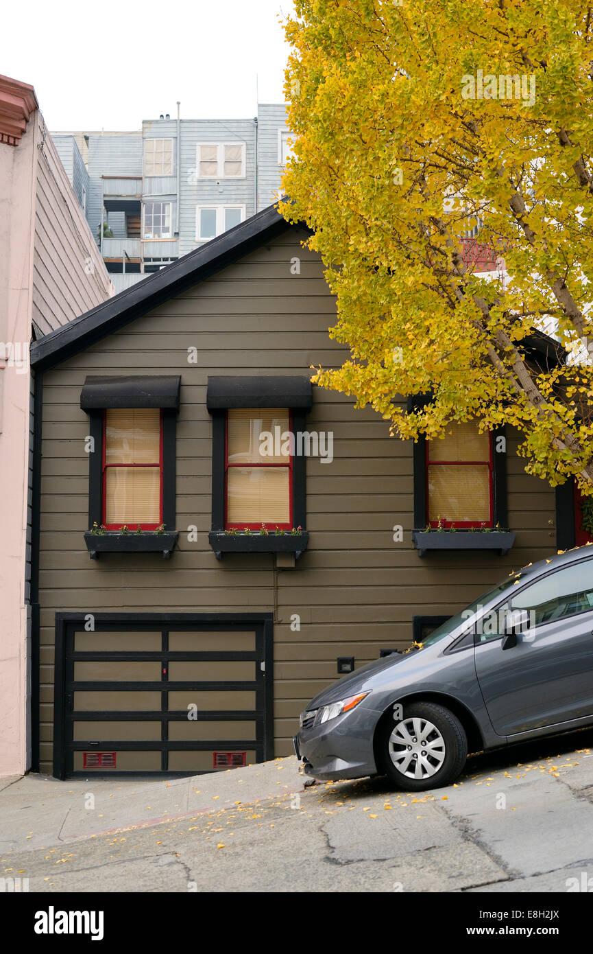 USA, California, San Francisco, parked car at slope Stock Photo