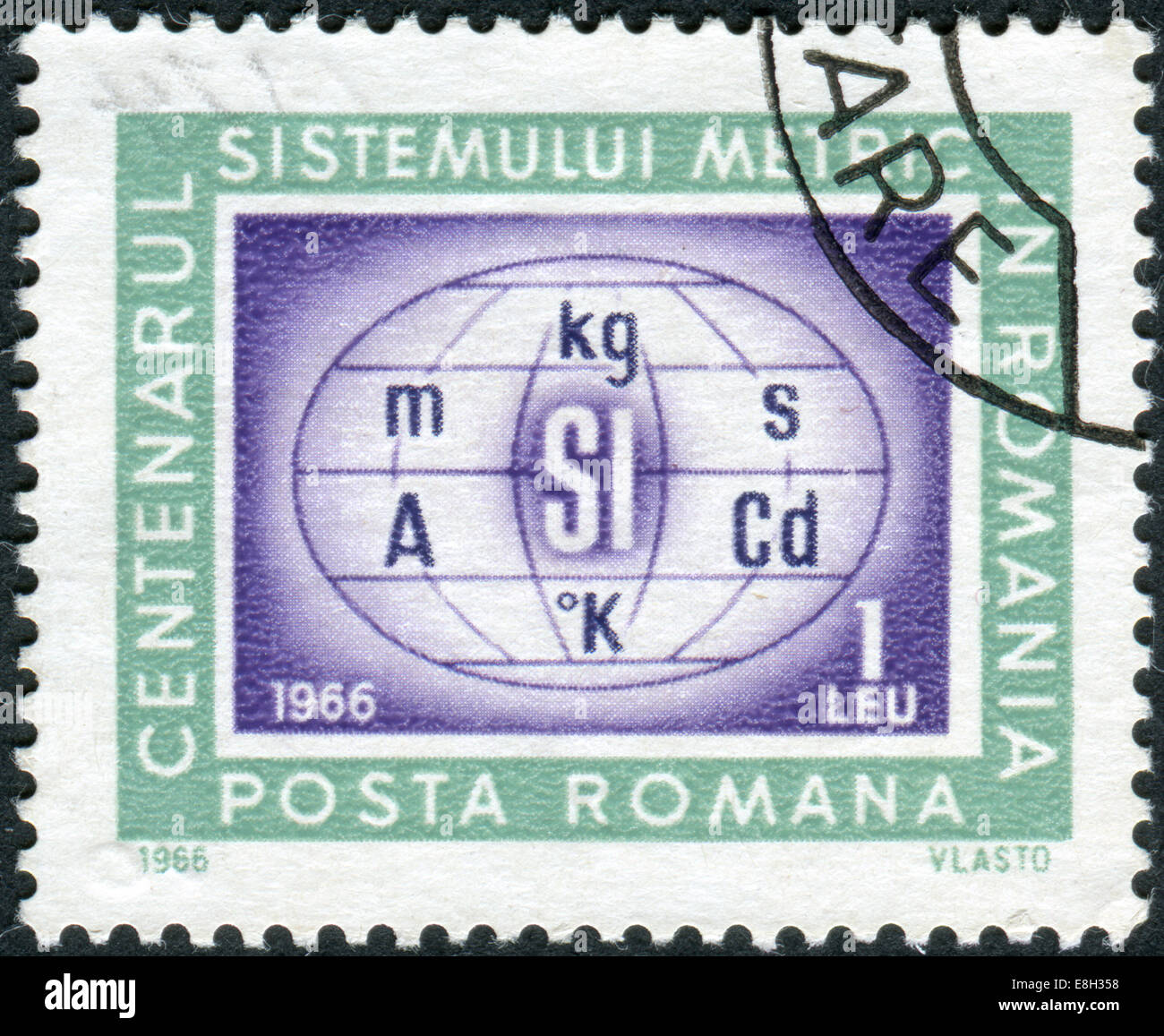 Postage stamp printed in Romania, dedicated to the centenary of the metric system in Romania is shown Metric system - Stock Image