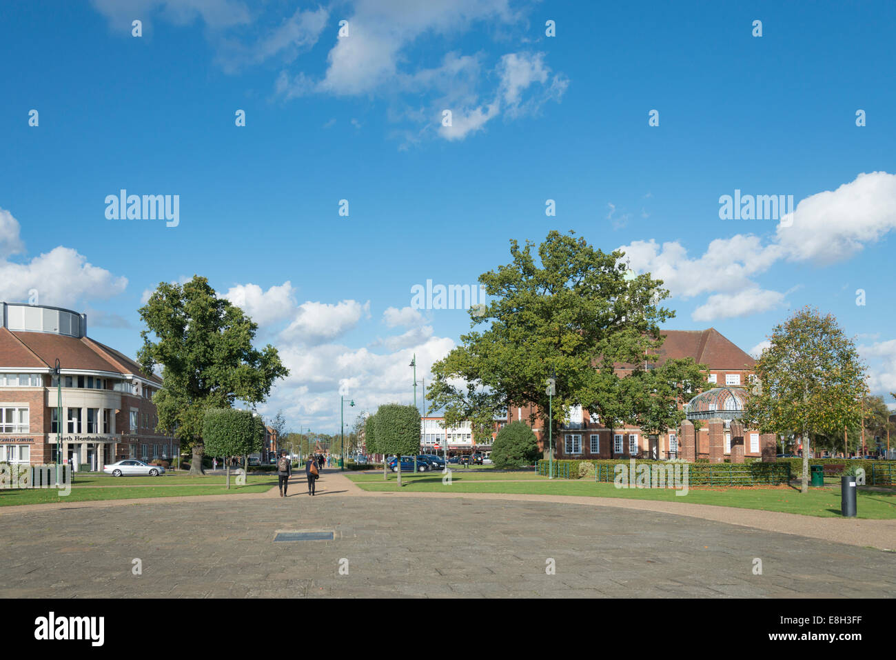 Open space in a park in the centre of Letchworth Garden City Hertfordshire UK - Stock Image