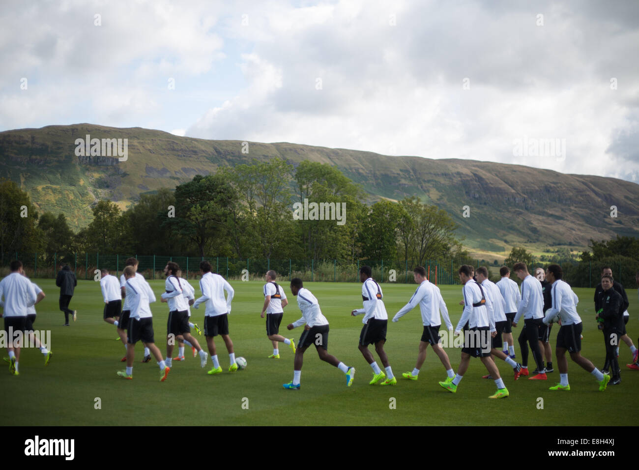 Celtic FC players training at their Lennoxtown facilities, outside Glasgow, Scotland - Stock Image