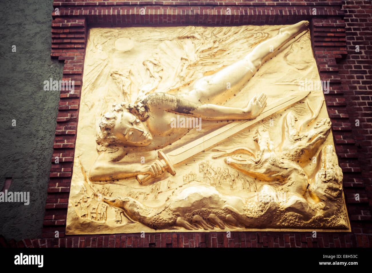 Germany, Bremen, wall relief in the Boettcherstrasse Stock Photo ...