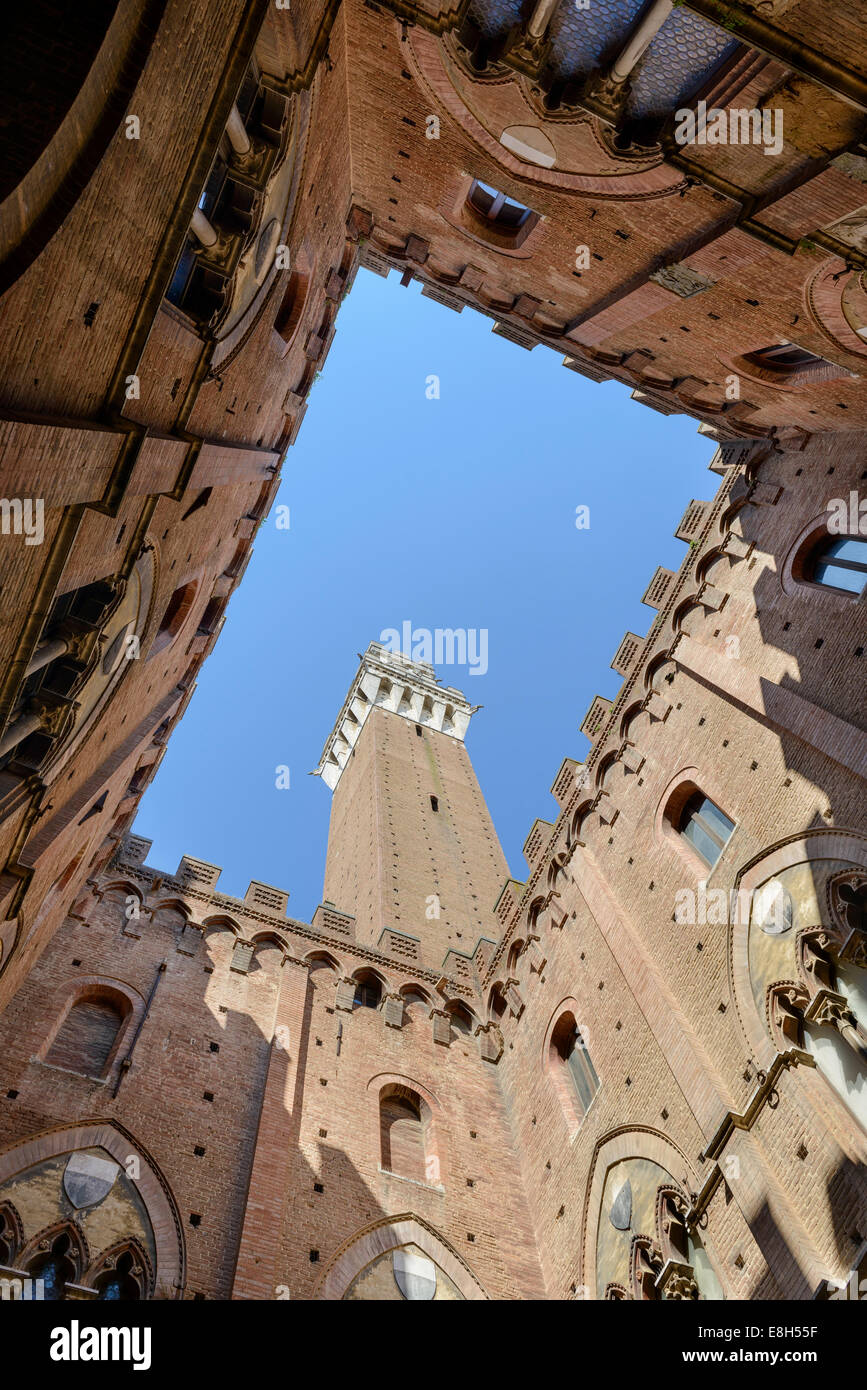 Torre del Mangia - The Tower of the Eater in Siena - Stock Image