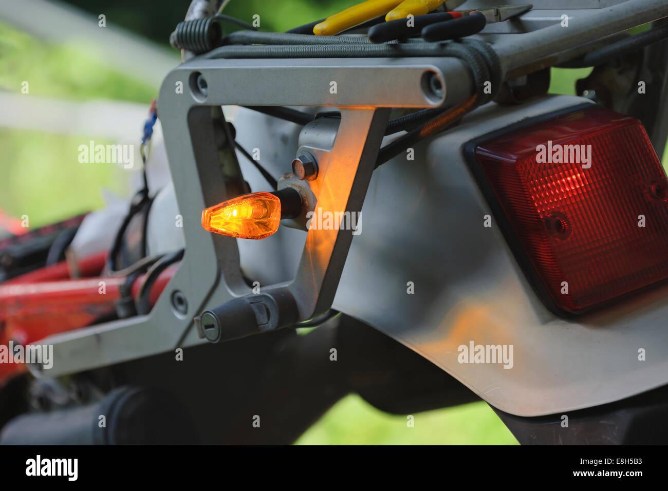 Indicator at an enduro motorcycle - Stock Image