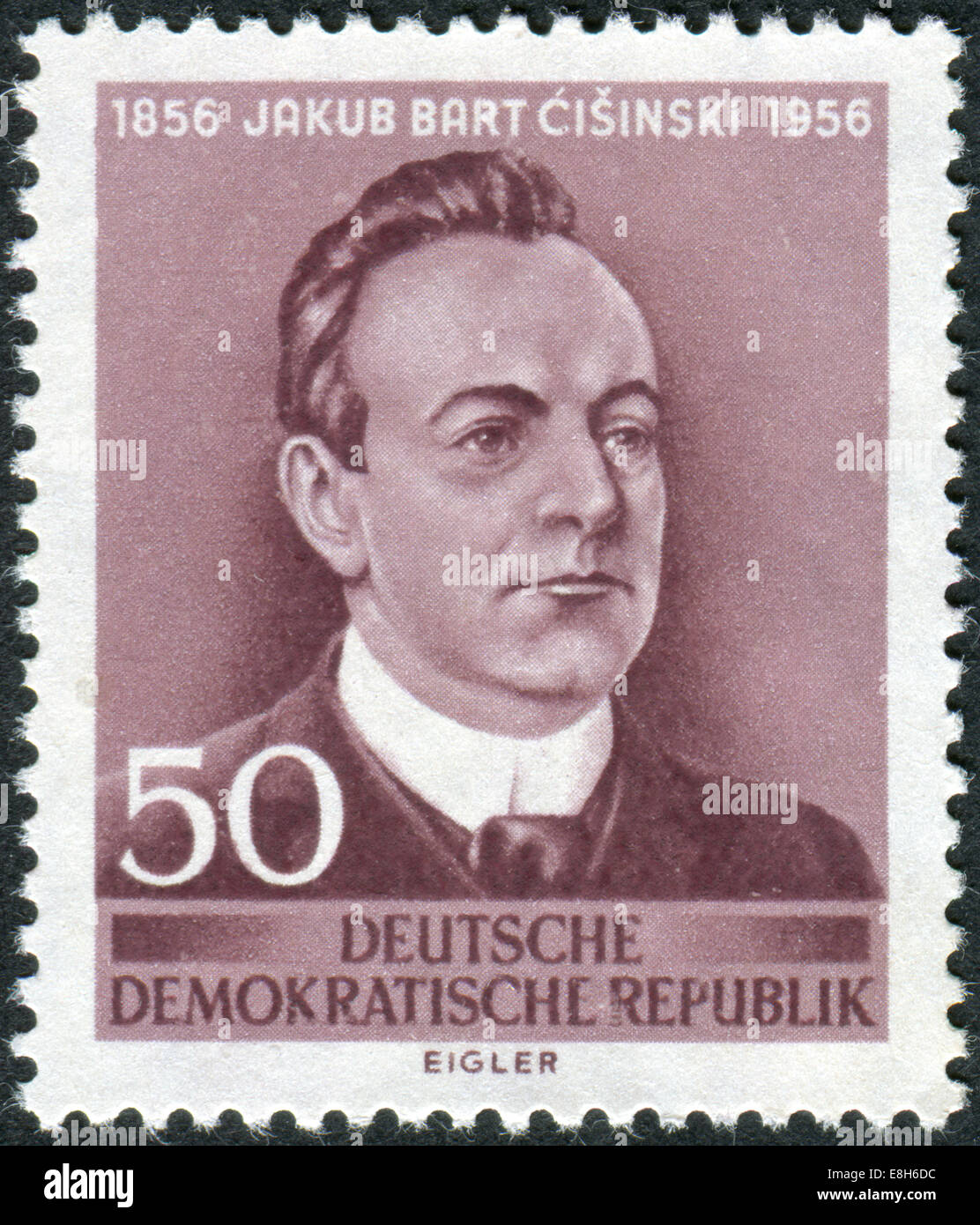 Postage stamp printed in Germany, shows portrait Jakub Bart-Cisinski, Sorbian poet, writer and playwrighter - Stock Image