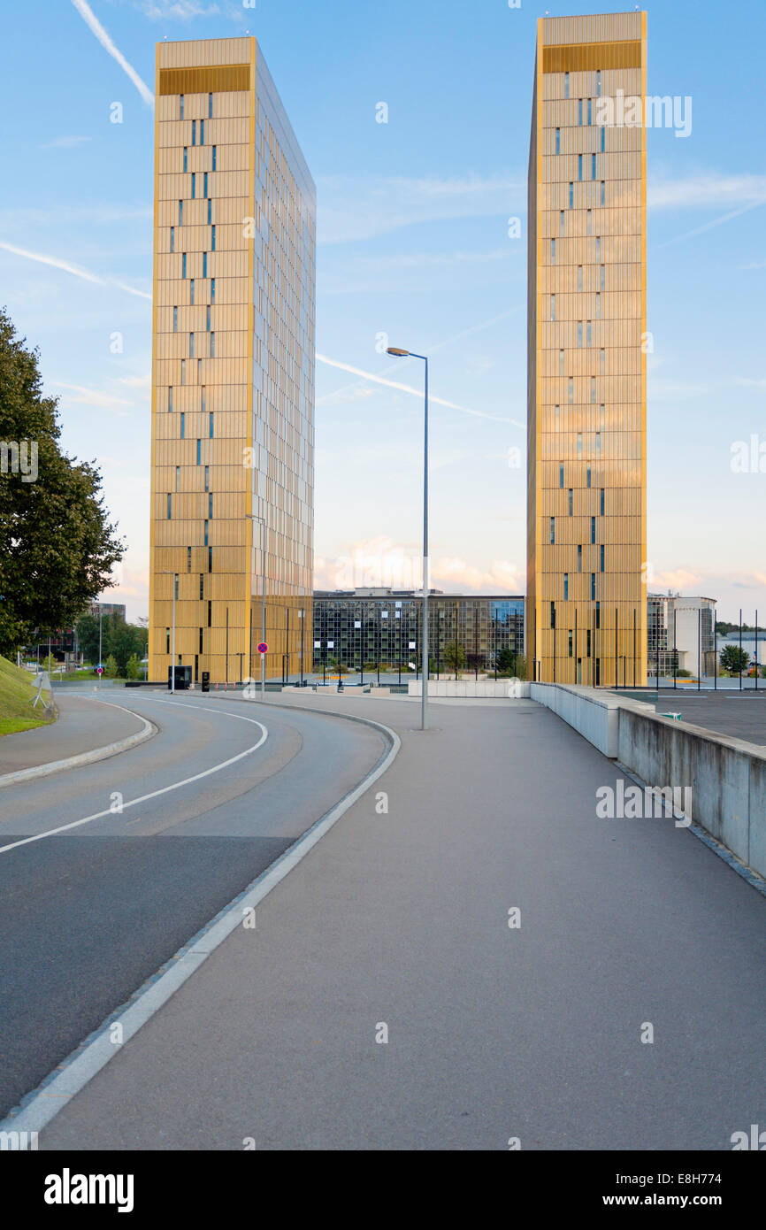 Luxembourg, Luxembourg City, view to twin towers of European Court of Justice from below Stock Photo