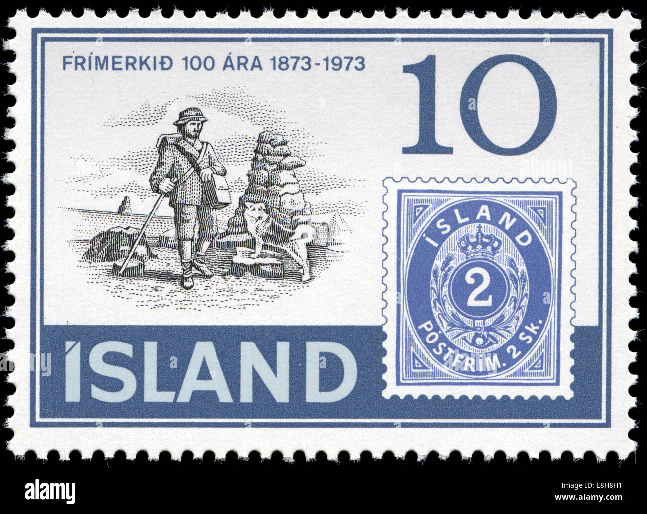 Postmarked stamp from Iceland in the  100 years Iceland stamps series issued in 1973 - Stock Image