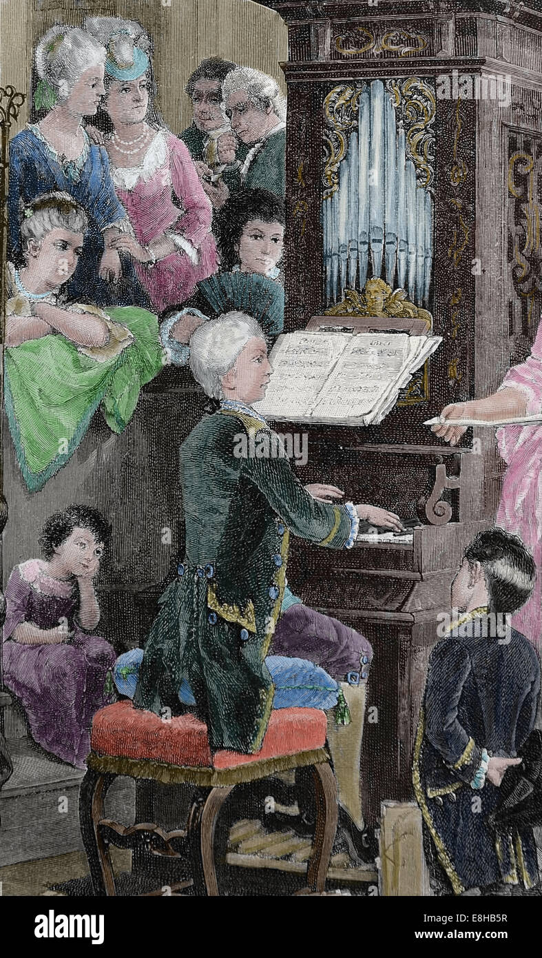 Wolfgang Amadeus Mozart (1756-1791). Composer of the Classical era. Mozart boy playing celesta. Engraving, 1885 - Stock Image