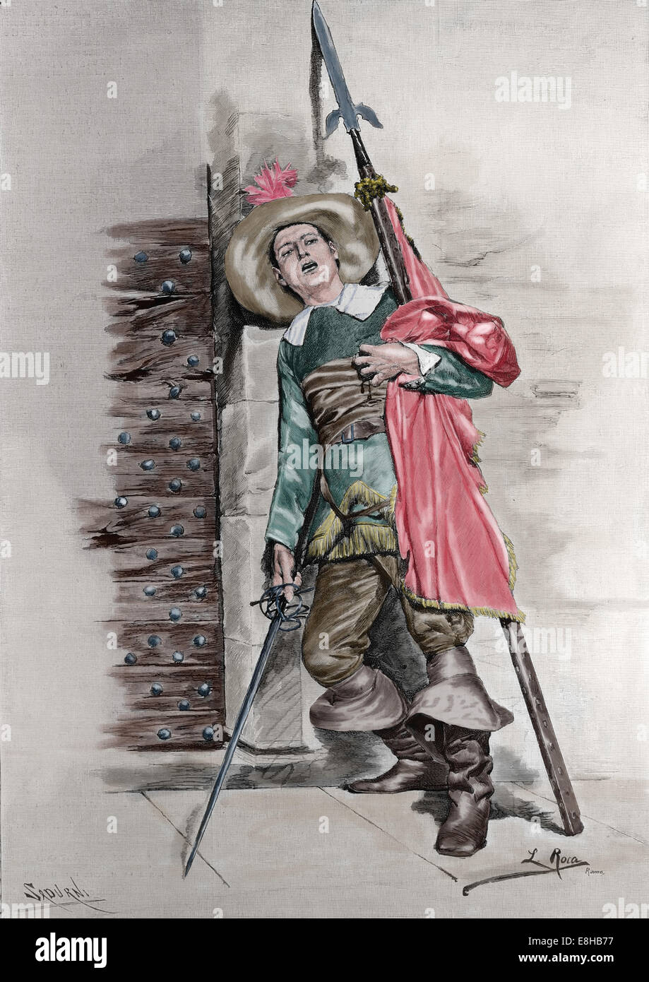Patriotic. Soldier. Drawing by L. Roca. Engraving by Sardurni. Artistic Illustration, published in Spanish, 1885. - Stock Image