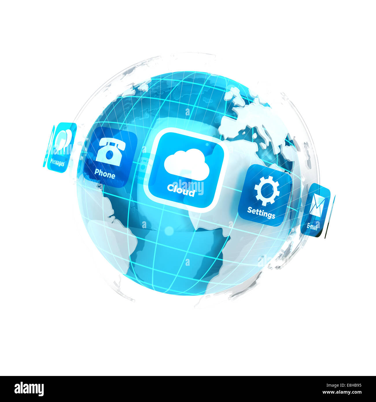 3d earth with applications icons, isolated white background, 3d image Stock Photo