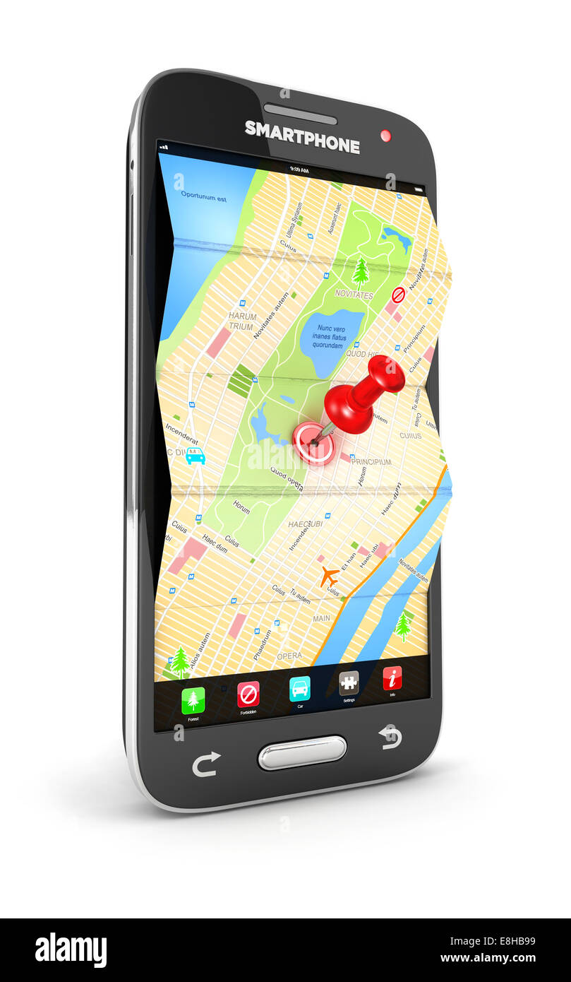 3d road map in smartphone, isolated white background, 3d image - Stock Image