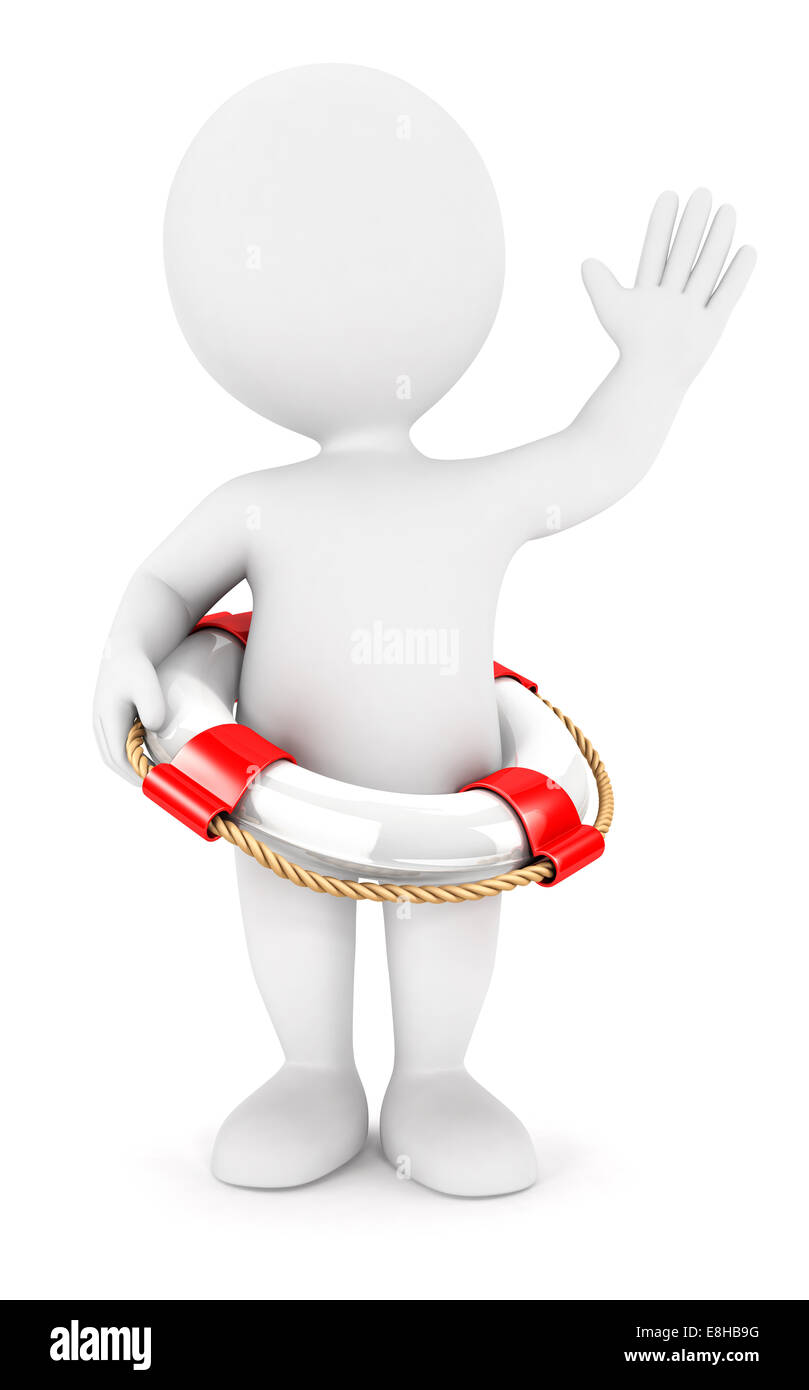3d white people rescue ring, isolated white background, 3d image Stock Photo