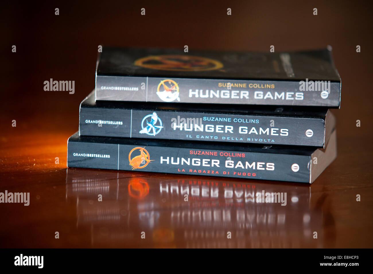 Hunger games trilogy books - best seller - Stock Image