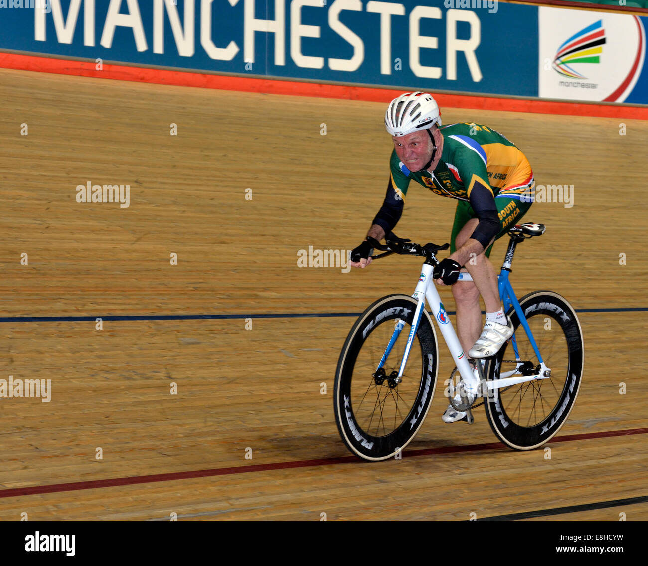0de549bd478 John Moss (South Africa) in action in the 2,000m individual pursuit for the  65-69 age-group during the 2014 UCI Track Cycling World Masters  Championships.