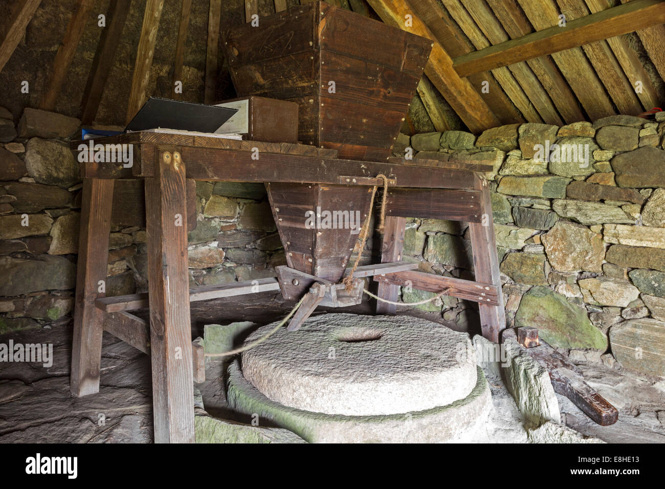 Interior of the Reconstructed Norse Mill, Shawbost Isle of Lewis Hebrides Scotland UK - Stock Image