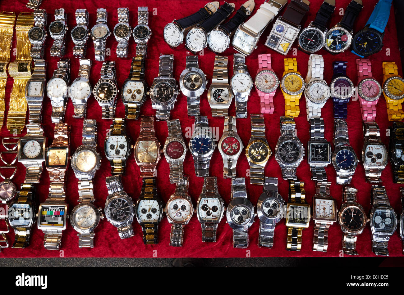 Watches for sale at East Street Market, London, UK - Stock Image