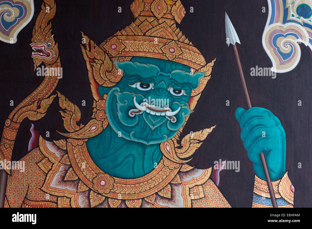 The Royal Grand Palace, Bangkok Thailand, Asian art work decorate the halls of the palace. - Stock Image