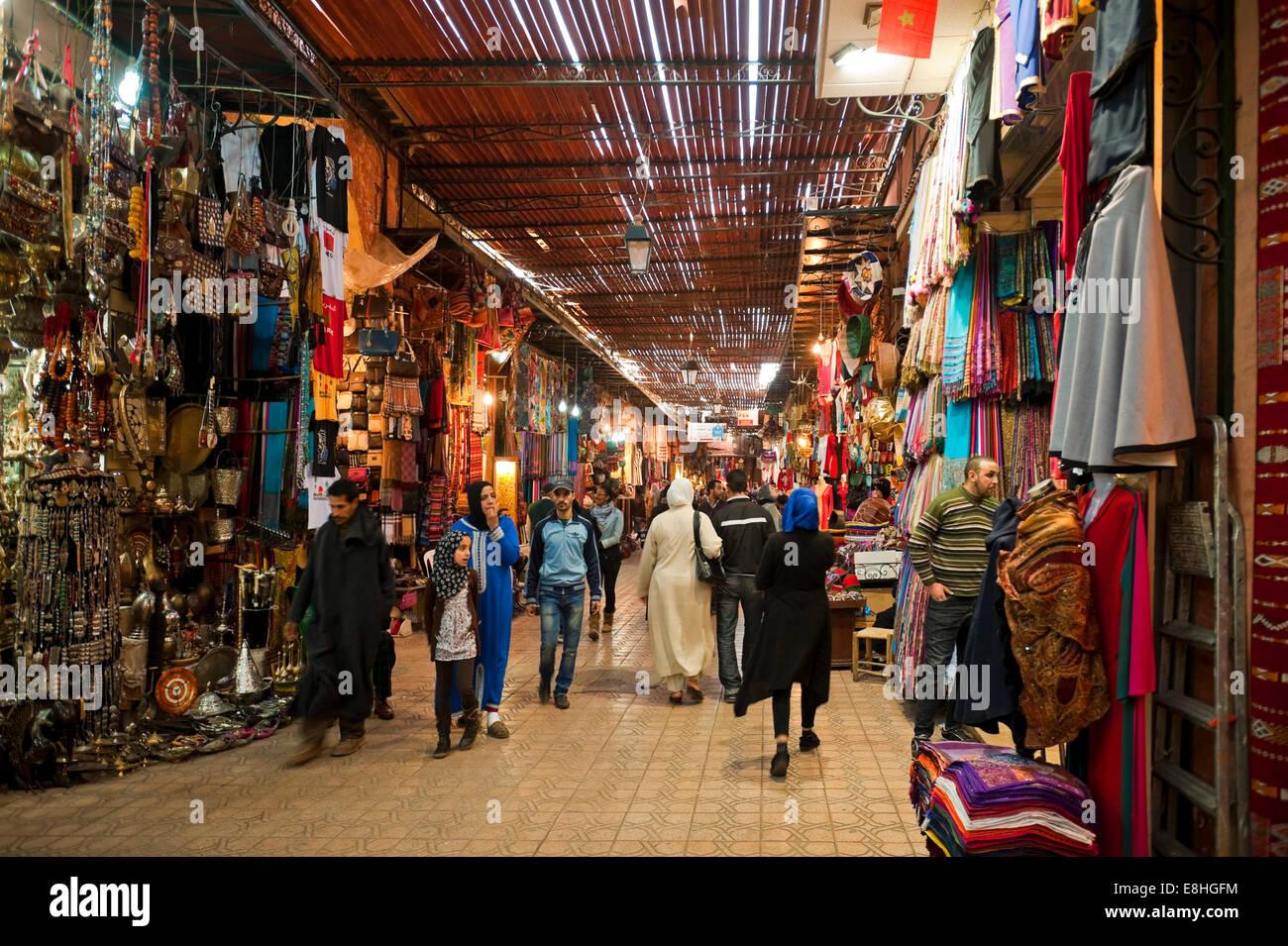 Horizontal view of people walking through the souks of Marrakech. Stock Photo